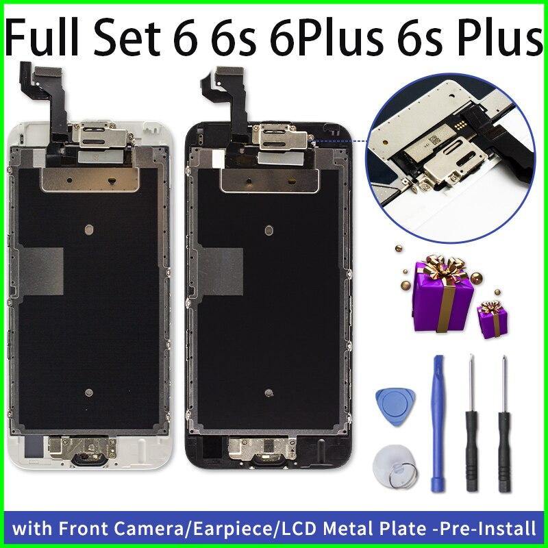 Conjunto completo lcd ecran para iphone 6 6 plus 6s 6s mais display substituição digitador da tela de toque 3d com câmera frontal + fone ouvido