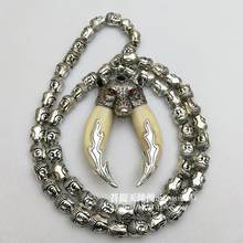 Wolf tooth pendant necklace fidelity dog teeth double pack silver evil protect peace men born year gifts Buddha head chain(China)