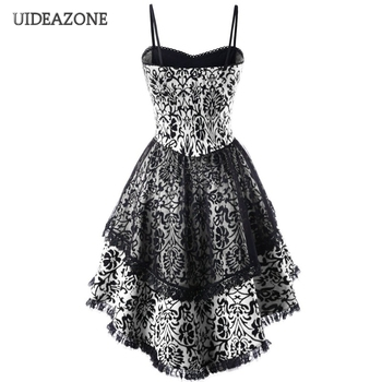 UIDEAZONE Gothic Vintage Lace Patchwork Women Dress Plus Size Goth Bandage Ladies Spaghetti Strap Dresses 5XL 1