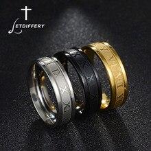 Letdiffery 6mm números romanos anéis de alta qualidade ouro preto aço inoxidável feminino festa jóias presentes aniversário