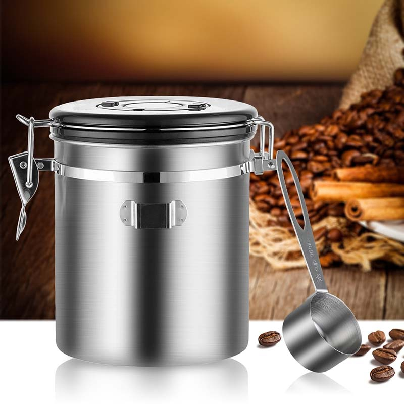 Stainless Steel Airtight Coffee Container Storage Canister Set Coffee Jar Canister with Scoop for Coffee Beans Tea 1.5L