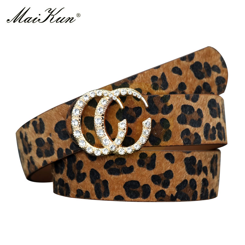 Maikun Belts For Women Double Ring Diamond Decoration Buckle Female Leather Belt Waistband For Pants Dresses