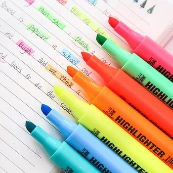 1pcs School Highlighter Pen Students Highlighters marker Brush pens pastel markers watercolor fluorescent pen drawing pens