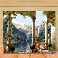 Painting by Number /DIY Digital Package Palace Corridor Oil Mural kit Coloring Wall Art Pic Gift