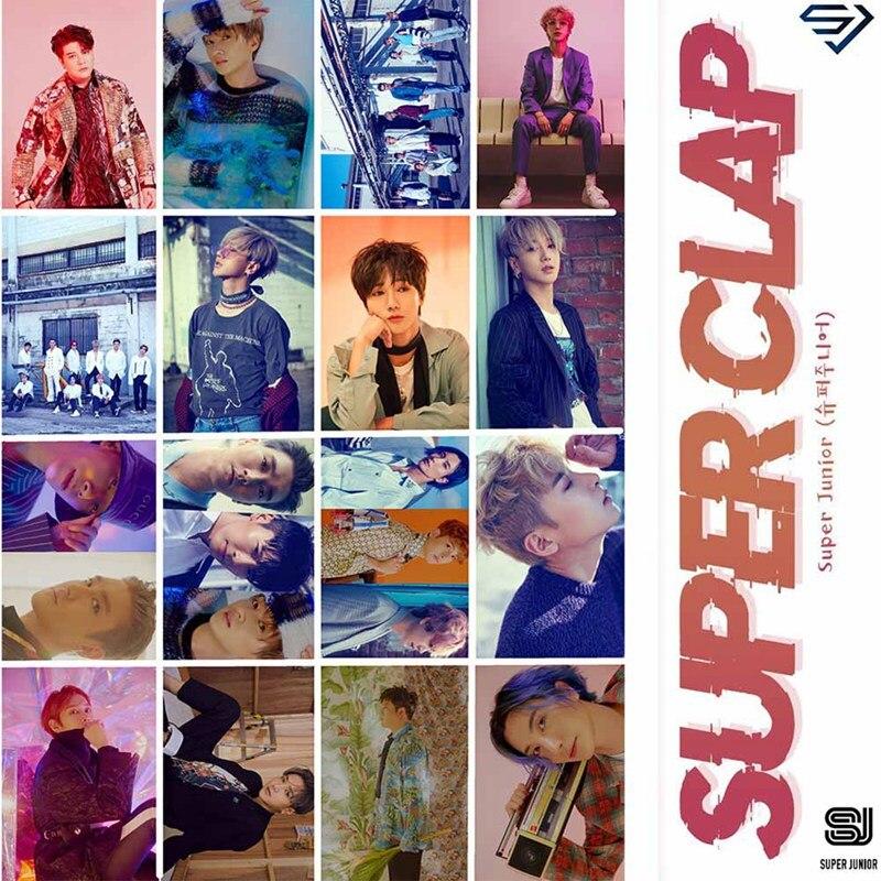 New 16Pcs/set KPOP SUPER JUNIOR SUPER CLAP Album Photo Card PVC Cards Self Made LOMO Card Photocard