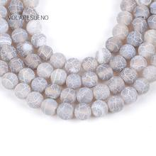 Natural Gray Frost Cracked Agates Stone Round Loose Beads For Jewelry Making 4-12mm Spacer Fit Diy Womens Bracelets 15''