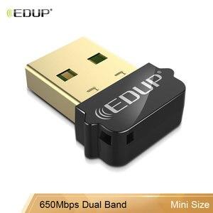 EDUP USB WiFi адаптер 2,4 ГГц/5 ГГц двухдиапазонный 650 Мбит/с беспроводной USB адаптер для Windows, MacOS, Linux