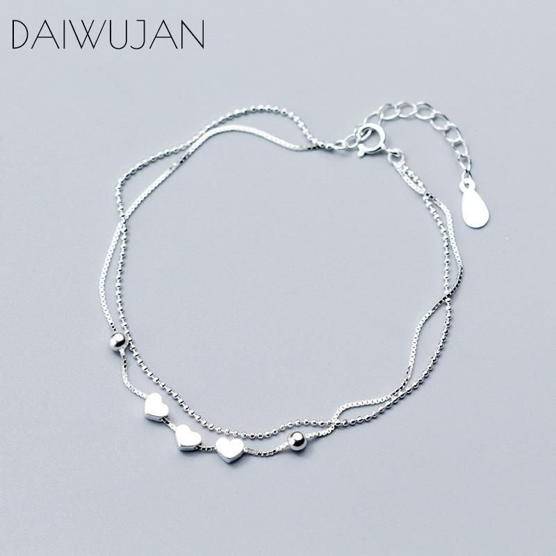 DAIWUJAN Korean Real 925 Sterling Silver Heart Beads Box Chain Bracelets Fine Jewelry For Women Romantic Party Accessories Gift