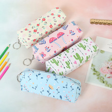Cactus Pencil Case School Cute Pen Bag for Girls Stationery Kawaii Flower Pencil Cases PU Zipper Pen Box School Supplies cute kawaii floral flower canvas zipper pencil cases lovely fabric tree pen bags school supplies 1pcs free shipping