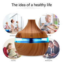 300ML USB Electric Air Humidifier, Ultrasonic Essential Oil Aroma Diffuser, Wood Color, with 7 LED Lights for Car Home Office