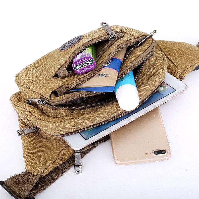 Canvas Running Bag Large Capacity Multi-Laminated Men's Outdoor Sports Travel Shoulder Shoulder Bag Phone Purse