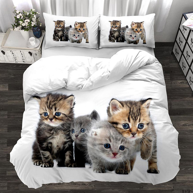 Animal 3d cute cat custom bedding set kitten quilt cover pillowcase 3pcs twin designer designer bedding luxury  My Pet World Store