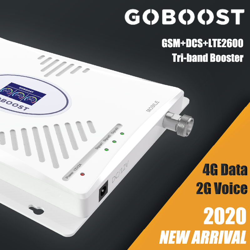 2G 4G GSM DCS LTE2600 Tri-band Cellular Mobile Signal Booster Cell Phone Amplifier Repeater 70dB 900MHz 1800Mhz 2600Mhz Internet