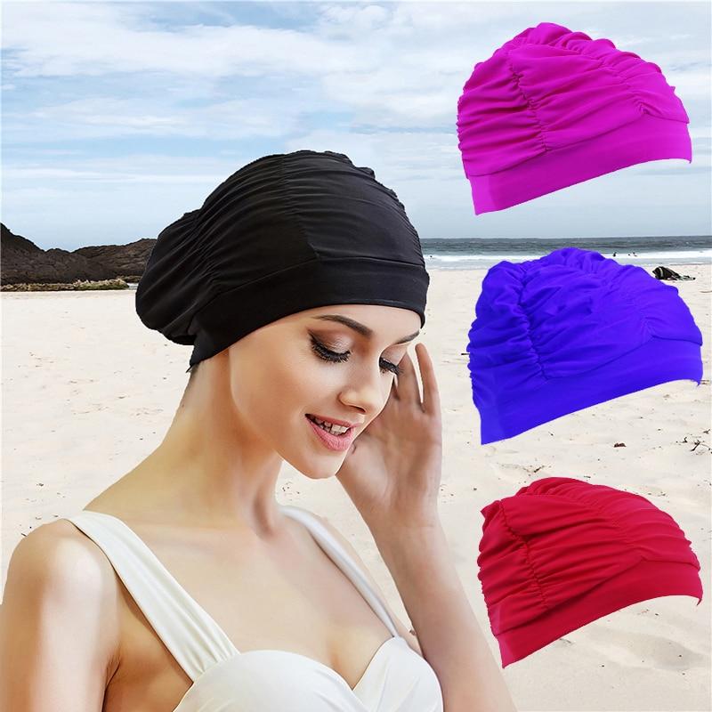 Swimming-Cap Activities Long-Hair Fold-Girls Outdoor Sports Womens Bathing-Drape Stretch