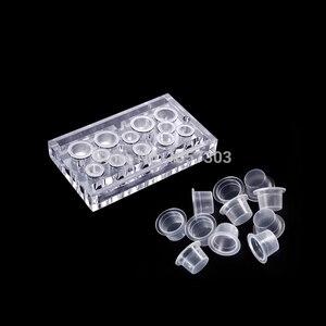 Image 5 - Vasos de tinta de plástico para tatuaje de tamaño pequeño, 8mm, 100 Uds., pigmento de maquillaje permanente, tapas de contenedores, soporte desechable, accesorio para tatuaje
