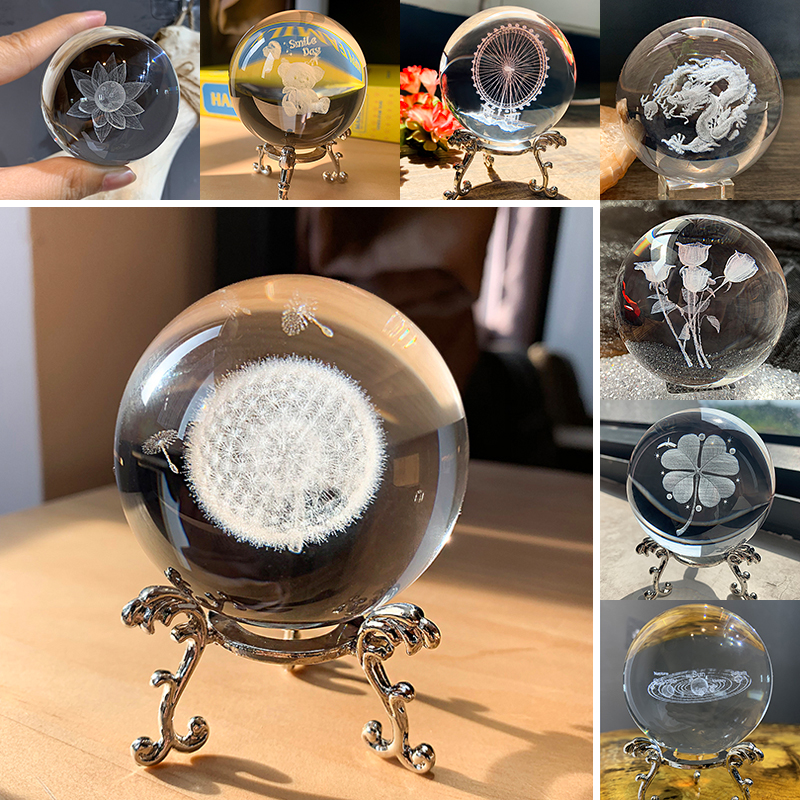 H&D 60mm 3D Ball Laser Engraved Crystal Ball Glass Art Craft Miniature Sphere Home Decor Accessories Christmas Gift Metal Stand