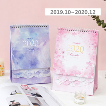2020 Dreamy Watercolor Series Desktop Calendar DIY Note Memo Coil Calendars Daily Schedule Planner 2019.10-2020.12