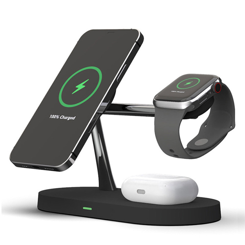 Wireless Chargers Stand Dock for iPhone 12 Mini Pro Max Magnetic Charger for Apple iWatch Airpods QI 15W Fast Charging Station