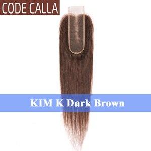 Image 4 - コードオランダカイウストレート 2*6 インチレースサイズキム K 閉鎖、マレーシアの Remy 人毛織りエクステンション自然な黒ダークブラウン色
