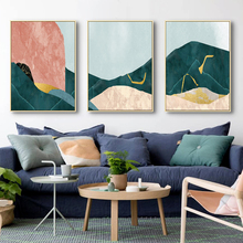 Abstract Green Stone Hill Picture Poster and Print Wall Art Canvas Painting Decoration Living Room Bedroom Office Home Decor abstract canvas painting poster print wall art nordic green gold lines picture for living room bedroom decoration home decor
