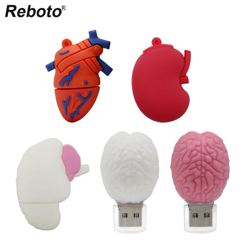Organs Pen-Drive Usb-Stick Stomach Brain Memoria Doctor Lung Heart Cartoon 64GB Human