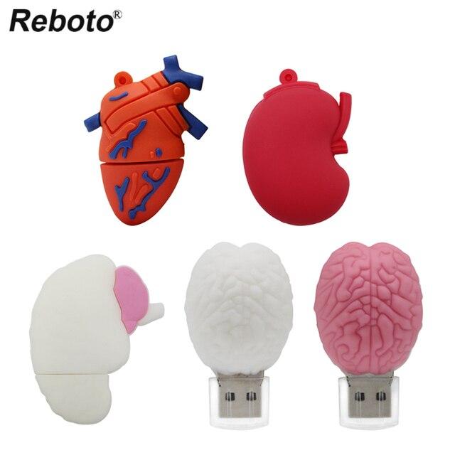 Cartoon Human Organs USB Flash Drive Lung Heart Stomach Brain Doctor pendrive 64gb usb flash drives memoria usb stick pen drive 1