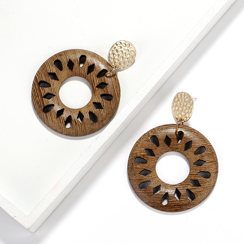 AENSOA Ethnic Round Hollow Wood Earrings 2019 Fashion Flowers Hollow Statement Earring Geometric Drop Earrings Statement Jewelry