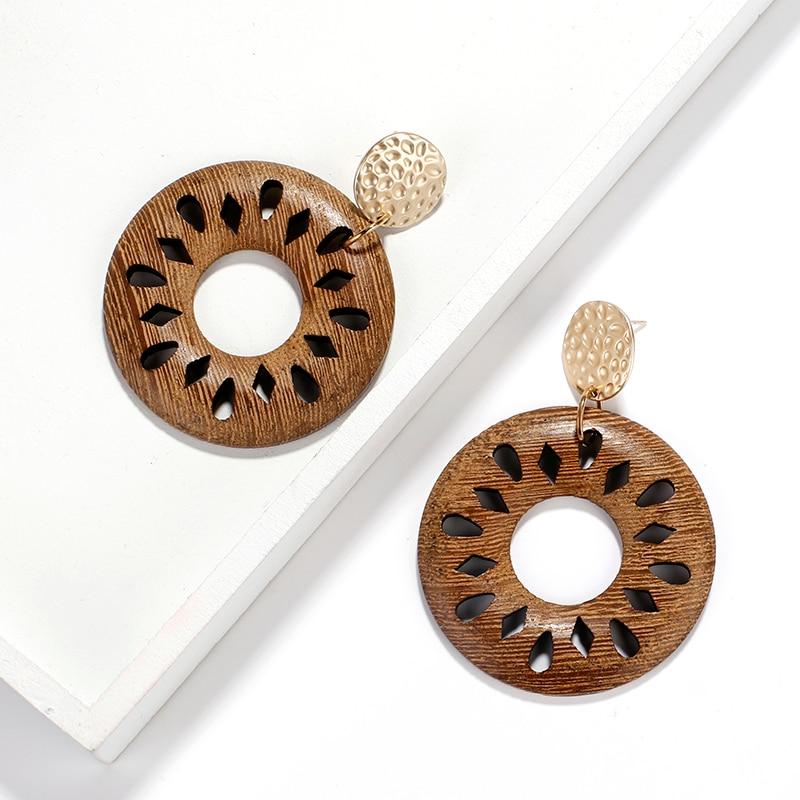 AENSOA Ethnic Round Hollow Wood Earrings 2019 Fashion Flowers Hollow Statement Earring Geometric Drop Earrings Statement Jewelry