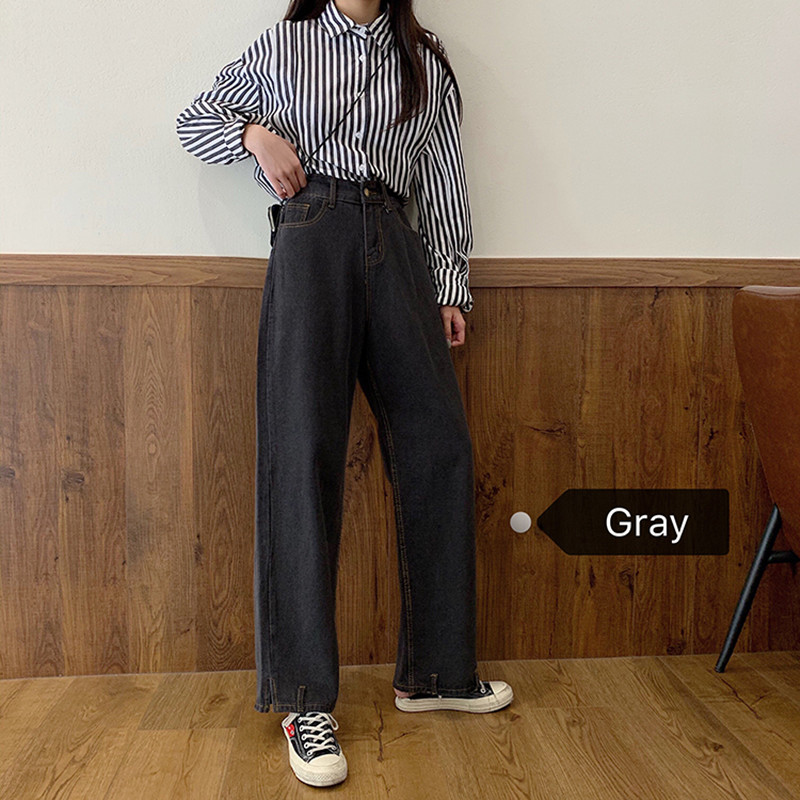 SML 2020 Spring Autumn Korean Style Women Denim Pants Loose Gray High Waist Wide Leg Jeans For Women Straight Pants (F6619)