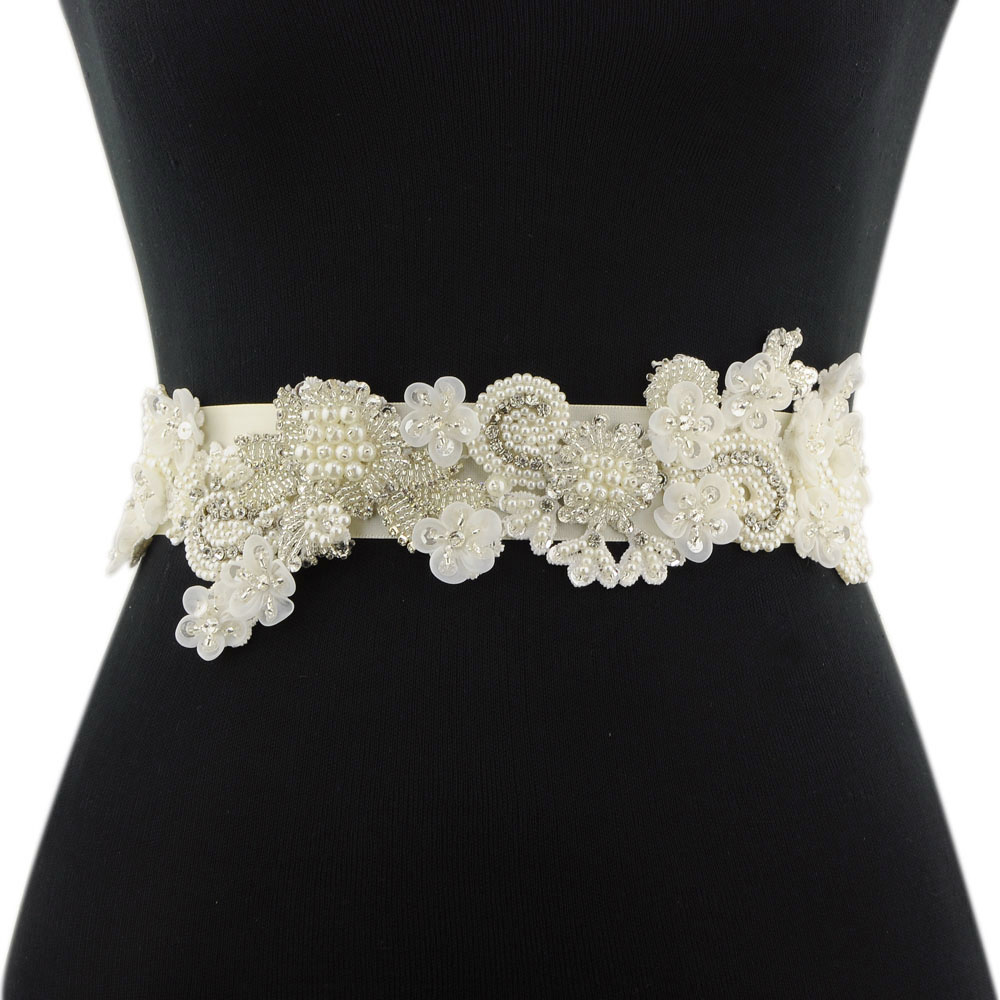 TRiXY S331 Crystal Pearls Wedding Belt Flowers Embroidered Bridal Belt Sashes Wedding Accessories Evening Dress Belt Sashes