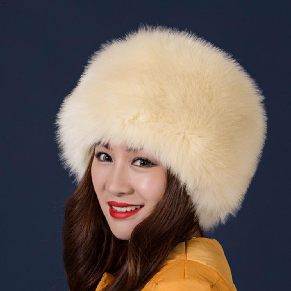 Winter Faux Fur Hats Fashion Women Winter Beanies Mongolian Hat Solid Thick Warm Solid Earmuffs Woollen Vintage Hat RussianStyle