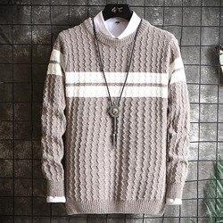 Men's Sweater 2020 New Winter Stripe Patchwork Knitted Long Sleeve Pullover Men O-Neck Warm Thick Coarse Wool Knitwear Coat Male