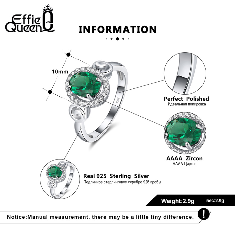 Effie Queen Big Green Crystal Stone AAAA Zircon Ring for Women Man 925 Sterling Silver Finger Rings Jewelry Party Gift DSR176