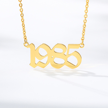 Personalized Old English Year Number Necklaces Gold Chain Custom  Numbers Choker Birthday Gift From 1985 to 2019 Necklace
