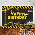 Фон для фотосъемки с изображением строительства-самосвал фон для дня рождения с изображением торта стола для мальчиков украшения на день р...