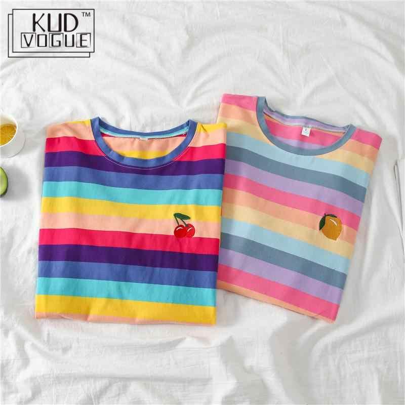 Harajuku บล็อกสี Contrast Rainbow Stripe หลวม TEE PLUS ขนาดผู้หญิง T เสื้อเสื้อยืด Streetwear น่ารักการพิมพ์ผลไม้