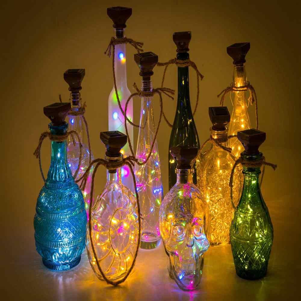 Energía Solar 2M LED Cobre Corcho Alambre Cuerda Luces Botella Vino Navidad