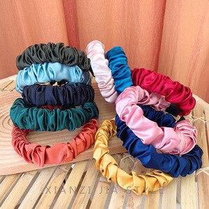 Korean Solid Color Hair Band Scrunchie Plicated Headband Cute Women Elastic Hair Bezel Hoop Fashion Hair Accessories for Girls