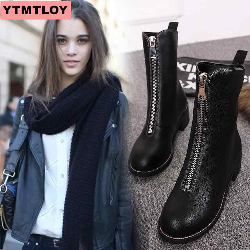 2019 winter boots women's and ankle boots high quality pointed ladies boots leather fashion boots black sexy women's boots size