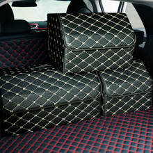Sac de rangement de voiture en cuir PU coffre organisateur boîte sac de rangement pliant coffre de voiture pliable rangement pour voiture SUV