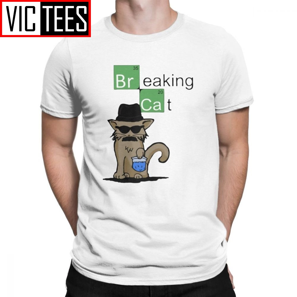 Men's Breaking Cat Breaking Bad Walter White T Shirts Heisenberg Pure Cotton Clothing Leisure Short Sleeve Harajuku Tees T-Shirt image