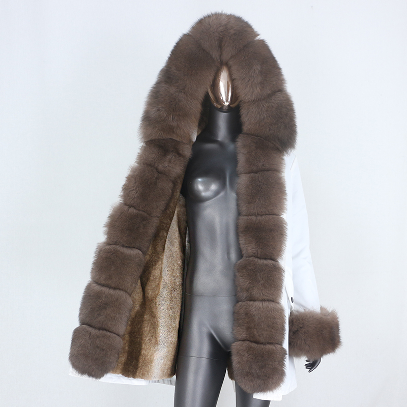 He9d18bf3ef4c40d5b7488dcded20b413A CXFS 2021 New Long Waterproof Parka Winter Jacket Women Real Fur Coat Natural Raccoon Fur Hood Thick Warm Streetwear Removable