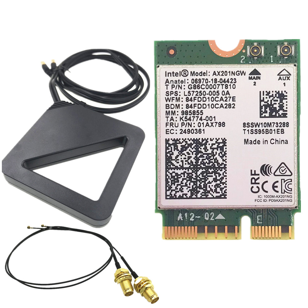 Intel Wi-Fi 6 AX201 Bluetooth 5.0 Dual Band 2.4G/5G Wireless NGFF CNVi Wifi Card AX201NGW 2.4Ghz / 5Ghz 802.11ac/ax