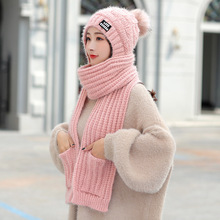 Kitted Winter hat and Scarf Set Thick Skullies Beains Hat Wool Warm Pom Poms Ball 2019 new Female Hats