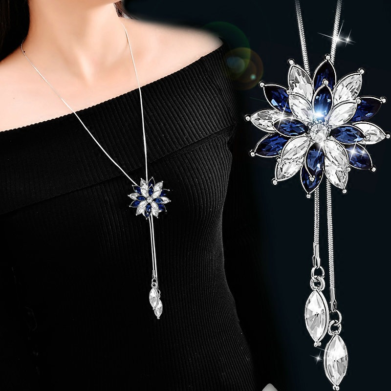 Snowflake Zircon Long Necklace For Women Fashion Silver Color Crystal Maxi Necklaces & Pendants Statement Collier Jewelry