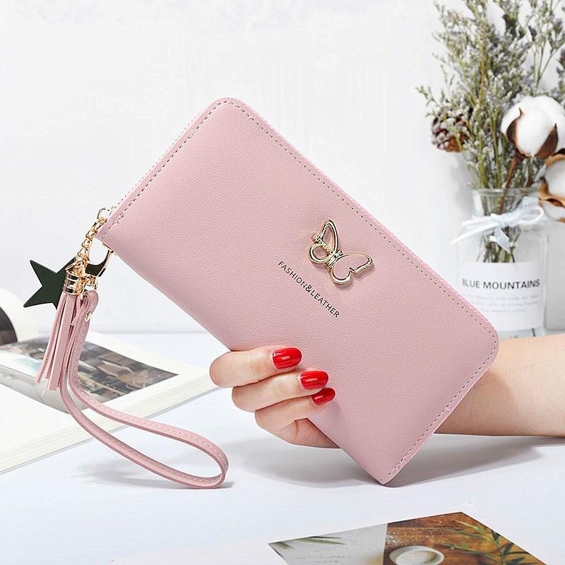 Fashion Butterfly Women Wallet Wrist Handle Phone Case Long Section Money Pocket Pouch Handbag Women's Purse Card Holders 2019