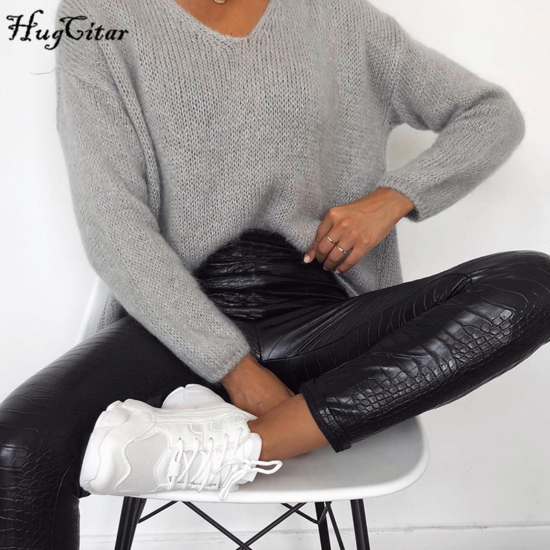 Image 5 - Hugcitar 2020 PU leather Crocodile pattern high waist pants spring women bodycon streetwear outfits trousersPants & Capris   -