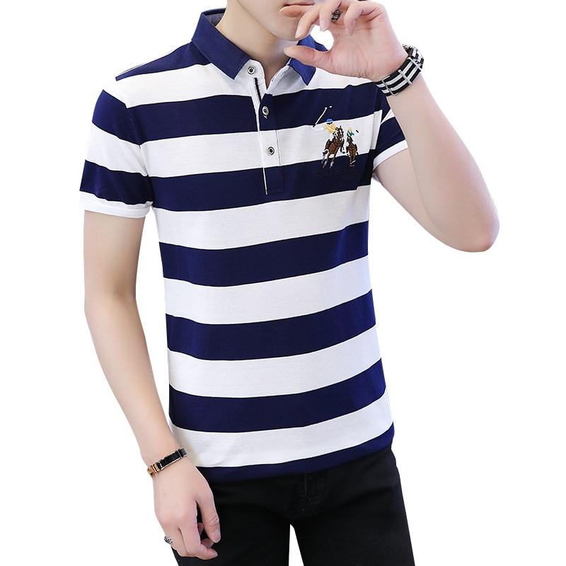 Summer Mens Polo Shirt Quality Polo Men Cotton Short Sleeve Shirt Man Color Strip Slim Fit Turn Down Collar Polo Tee Shirt Male