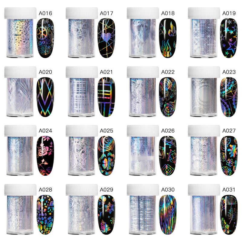 Vier Lelie 1 Doos Holografische Nail Folie Polish Stickers Transfer Sterrenhemel Laser Sliders Transparante Nail Art Decal Manicure Tool