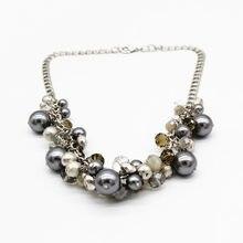 Collier avec perles de verre pour femmes, à la mode